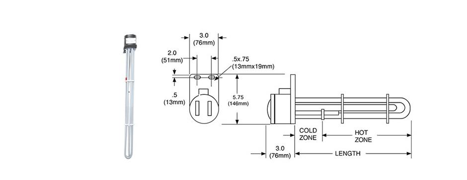 PTFE Three Tube Immersion Heater Print