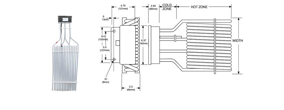 PTFE Electric Three Element Tubular Heater Print