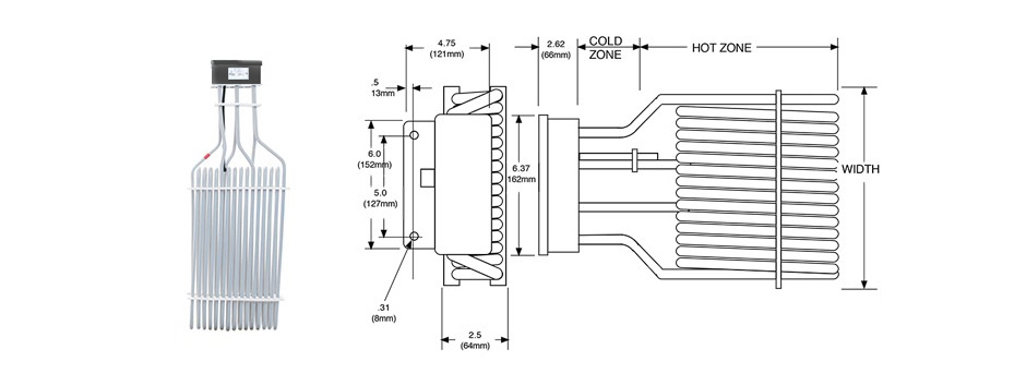 PTFE Electric Three Element Tank Heater Print