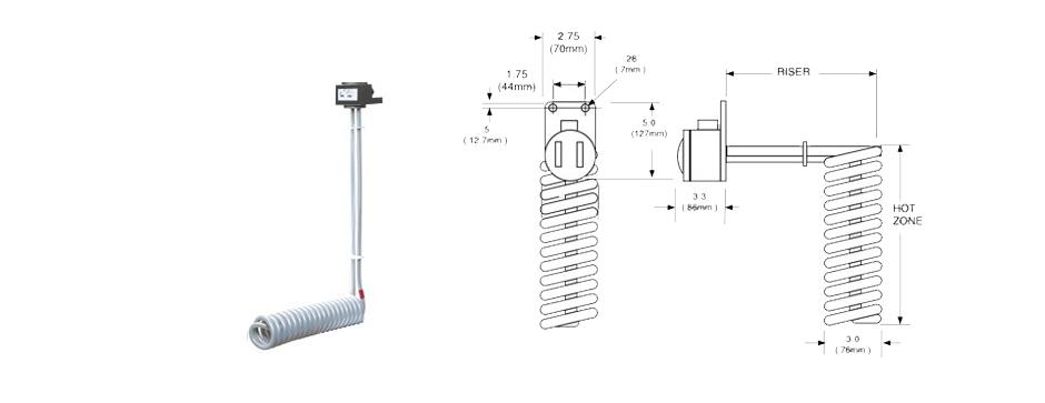 PTFE Single Spiral L-Shaped Heater Print