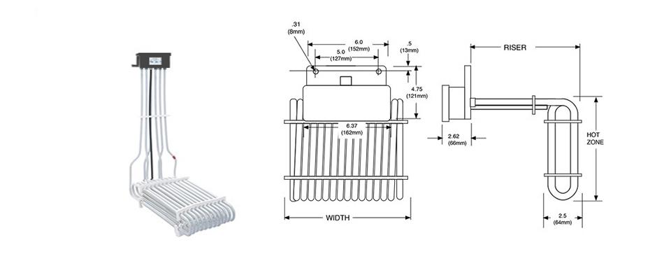 PTFE Electric L-Shaped Three Element Heater Print