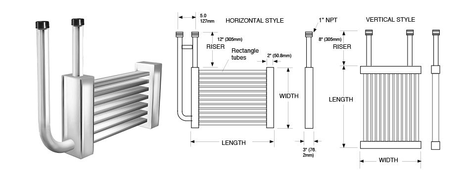 Rectangular Grid Series Immersion Coil Exchanger