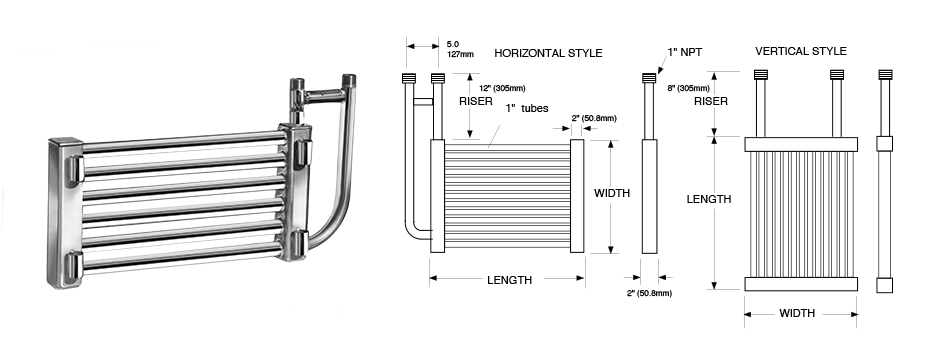 Single Round Tube Grid Series Immersion Coil Exchanger